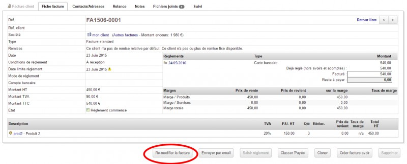 modification of validated or paid invoices