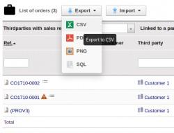 Liste exportation / importation
