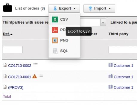 List export / import
