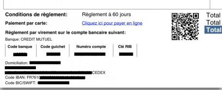 Facture avec Lien de paiement et QRCode (CB/PayPlug)
