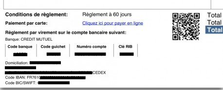 Invoice with QRCode and CC payment link PayPlug