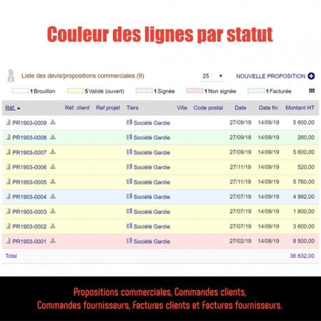 Linienfarben nach Status / Zustand Rechnung, Bestellungen ...