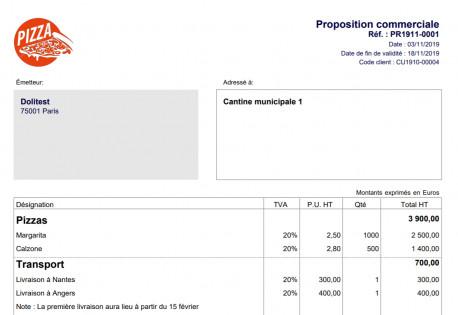 PDF azur titre sous-total et commentaire