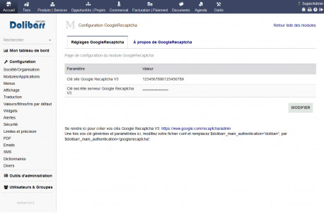 Google Recaptcha V3 for Dolibarr 8.0.0 - 11.0.0