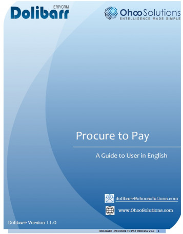 Dolibarr 11 - Procure to Pay Training Document